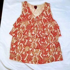 Size XS Red Snakeskin Layered Top